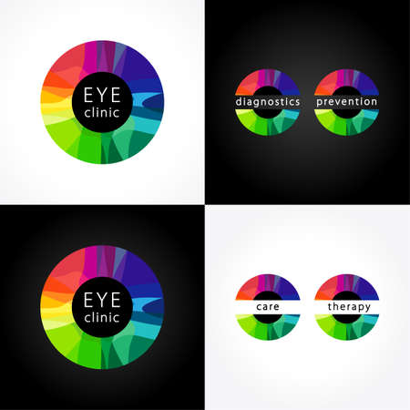 Eye clinic round colored. Bright stained glass logotype, color iris, ophthalmology diagnostic health care centers and hospitals. Medical, musical, healthcare or technology icon.