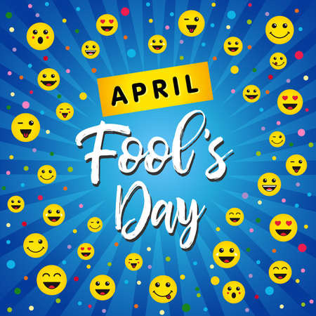April Fools Day greeting card with happy face emojis over blue beams background. Colorful lettering for holiday design. Vector illustration