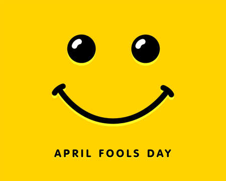 April Fools Day template design with smile icon. Fools day lettering text for celebration party or greeting card. Vector illustration