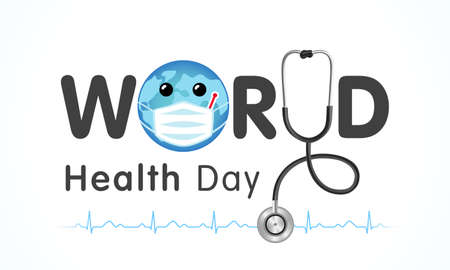 World Health Day earth in medical mask and text. Medical Health Day poster design with planet earth, stethoscope, heartbeat and lettering for celebration of April 7 holiday. Vector illustration