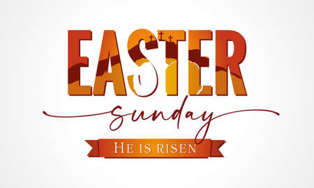 Easter Sunday lettering with Calvary and tomb in text. Easter Sunday, Holy Week banner with three cross and tomb. Vector illustration 向量圖像