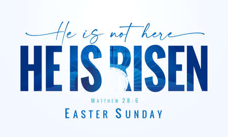 He is not here He is Risen, Easter Sunday - lettering quote with Calvary and tomb on the background. Holy Week postcard with three cross and text Matthew 28: 6. Vector illustration