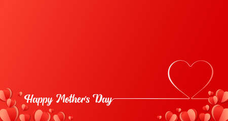 Happy Mothers Day line lettering with paper heart design. Web banner for Mother's Day inscription for Mom greeting card with beautiful red hearts. Vector illustration