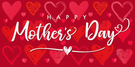 Happy Mothers Day poster with sketch hearts pattern background. Web banner for Mother's Day inscription for Mom greeting card with doodle red hearts. Vector illustration