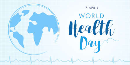 World Health Day cardio poster light with earth and text. Medical Health Day poster design with planet earth, cardiogram and lettering for celebration of April 7 holiday. Vector illustration