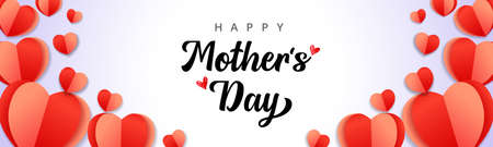 Happy Mothers Day background with paper heart elements. Web banner for Mother's Day with inscription for Mom greeting card and origami red hearts. Vector illustration 向量圖像