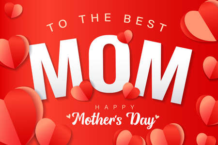 To the best MOM, Happy Mothers Day banner with red paper heart and text. Web poster for Mother's Day with inscription for Mom greeting card with origami hearts. Vector illustration 向量圖像
