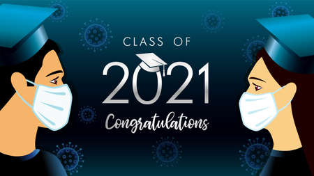 Class off 2021 year congratulation graduate, social distancing design. Vector illustration with students in medical mask and silver graduation text in academic cap on dark blue background 向量圖像