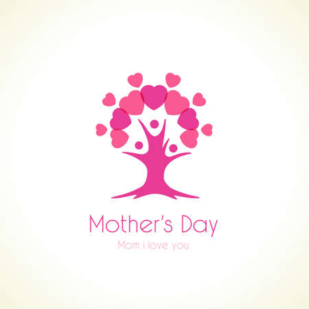 Happy Mothers Day congrats. Family business concept. Vector poster design for Mother's day, sale shopping special offer banner. Best Mom ever greeting card. Abstract isolated graphic design template.