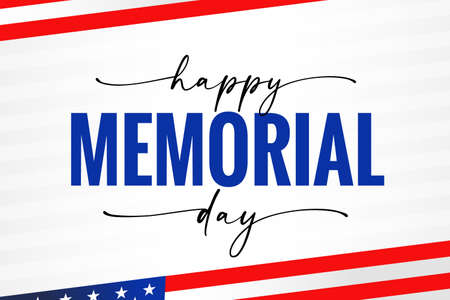 Happy Memorial Day USA, light stripes, flag and quote calligraphy. Celebration design for american holiday - Remember and honor with USA flag. Vector illustration 向量圖像