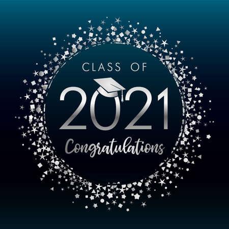 Class off 2021 graduates, silver glitter confetti on dark blue label background. Vector illustration congratulation graduation 2021 year in academic cap on navy-blue badge 向量圖像