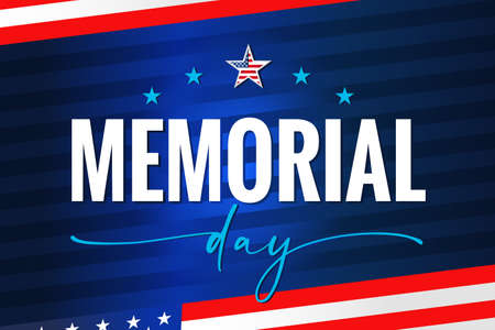 Memorial Day USA, quote lettering on blue stripes. Celebration design for american holiday - Remember and honor, with USA flag on background. Vector illustration 向量圖像