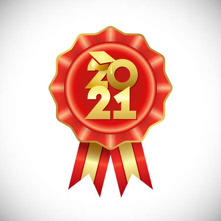 Class of 2021 year graduation badge, awards concept. Shiny digits, happy holiday rosette. Isolated abstract graphic design template. 3D round star, reward ribbons. Class off or back to school sign.