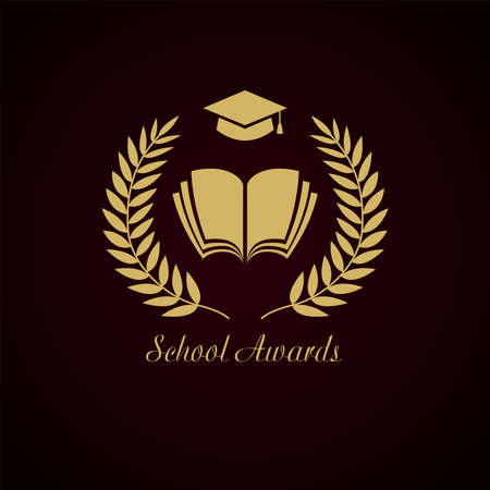 Educational awards logotype concept. Gold wreath, notebook and graduating hat. Creative school prize. Isolated abstract graphic design template. Nominee stamp. Open book framed by luxurious crown palm