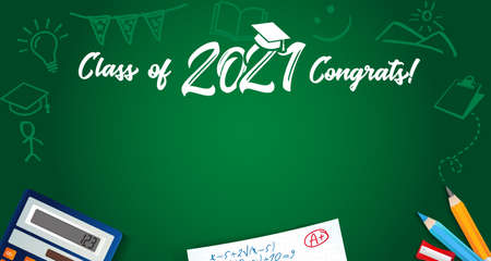 Class of 2021 Congrats text and school colored pencils on green blackboard. Vector illustration Class of 2021 year in academic cap and hand drawn chalk education icons on chalkboard 向量圖像