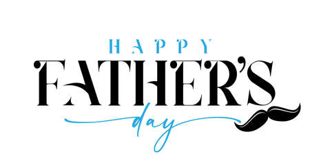 Happy Fathers day black and blue calligraphy with mustache. Happy father's day lettering background. Dad my king vector illustration banner 向量圖像
