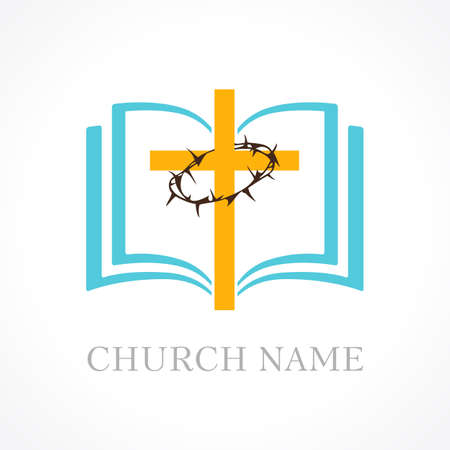 Cross bible church logo. Template logo for the church in the form of a cross and a crown of thorns and open bible