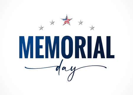 Memorial Day quote lettering banner with stars. Celebration design for american holiday - Remember and honor, with USA flag in star and text on white background. Vector illustration
