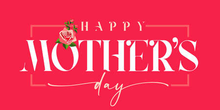 Happy Mothers day white inscription and rose, red banner. Elegant calligraphy quote for poster or greeting card, with Mother's Day text and flower on pink background. Vector illustration