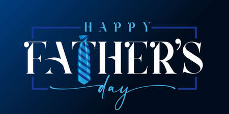 Happy Fathers day white calligraphy and blue striped necktie. Happy father's day quote lettering holiday background. Dad my king vector illustration banner
