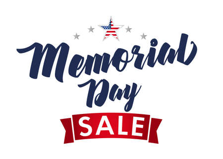 Web banner Memorial Day sale with stars. Remember and Honor, celebration design for american holiday with with text and flag in star. Special offer vector illustration