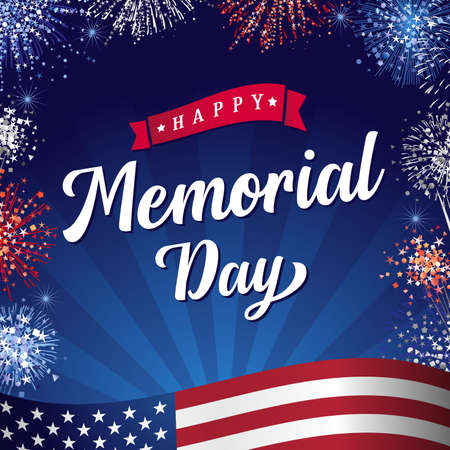 Happy Memorial Day 2021 lettering and fireworks. Remember and Honor, celebration design for american holiday with USA flag, salutes and text on beams background. Vector illustration 向量圖像