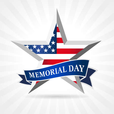 Memorial Day 2021 facet star and ribbon. Remember and Honor, celebration design for american holiday with USA flag in star and text on beams background. Vector illustration 向量圖像