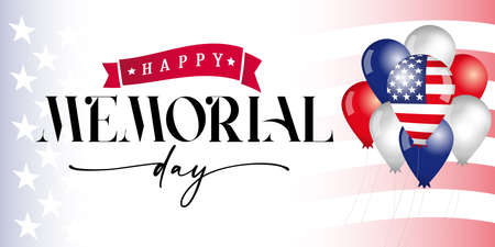 Happy Memorial Day balloons and flag. Remember and Honor, celebration design for american holiday with USA flag in balloons and text on flag background. Vector illustration 向量圖像