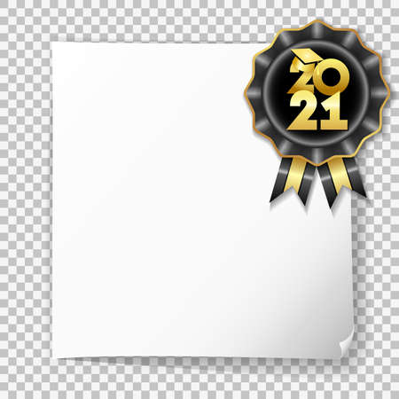 Class of 2021 white post note paper graduates poster with gold graduation cap on black rosette on transparent background. Template for design high school party or college, graduate invitations banner 向量圖像