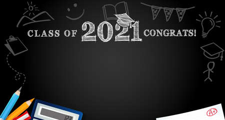 Class of 2021 Congrats, school colored pencils on blackboard. Template background for design high school party or college, graduate invitations banner, with chalk congratulation text 向量圖像
