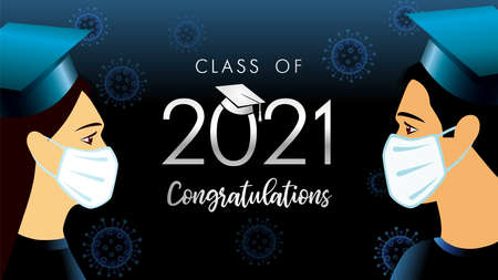 2021 class of congratulation graduate students in medical mask. Social distance concept for design high school party or college, graduation invitations banner 向量圖像