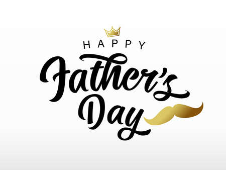 Fathers Day handwritten black lettering with golden mustache and crown. Vector greeting illustration with calligraphy, gold crown and whisker 向量圖像