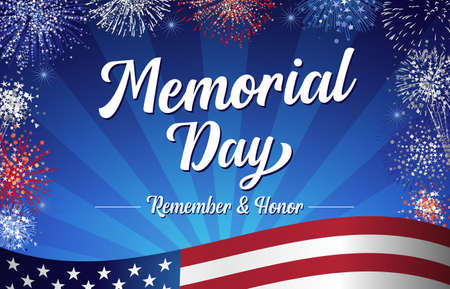 Memorial Day, Remember and Honor handwritten lettering and fireworks. Celebration design for american holiday with text and flag on blue beams background. Special offer vector illustration