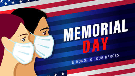Memorial Day USA banner with people in medical mask and flag. Celebration design for US holiday with american men and women, text and flag on blue striped background. Vector illustration