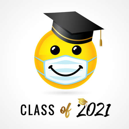 Class of 2021, smile in academic cap in medical mask. Congratulation concept for quarantine design high school party or college. Vector illustration for graduate invitations 向量圖像