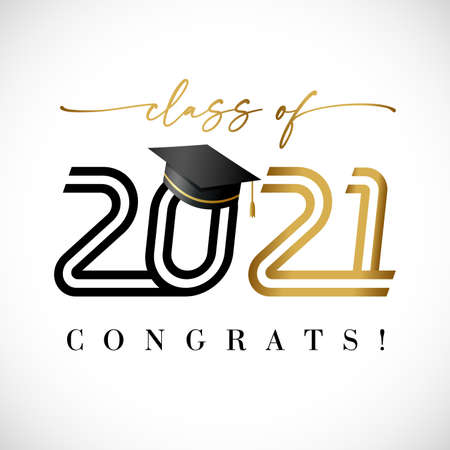 2021 class of golden line art text, graduates black lettering banner. Vector illustration black and gold logo congratulation degree ceremony with academic student hat