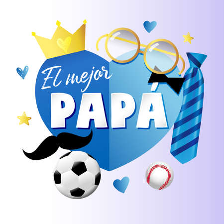 El mejor Papa - Best Dad in the world Spanish lettering banner with blue paper heart elements, tie, mustache and crown. Spain Fathers day vector greeting illustration - text, crown, necktie, mustache 向量圖像