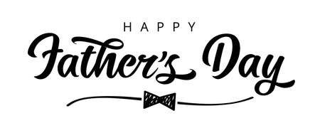 Happy Fathers Day with doodle bow calligraphy banner. Father's day vector greeting illustration with shape hand drawn bow tie and elegant sketch line divider