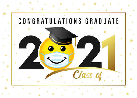 Congratulations Graduate Class of 2021, smile icon in academic cap. Vector illustration black and gold congrats ceremony with smiling in study hat