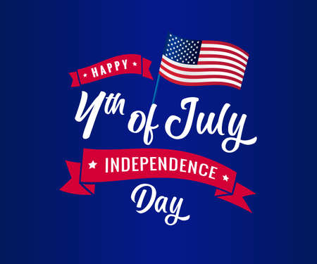 Happy Independence Day USA creative banner. Isolated abstract graphic design template. Red, blue, white colors. 4th of July USA. Decorative logotype concept, colorful congrats. Flag background. 向量圖像