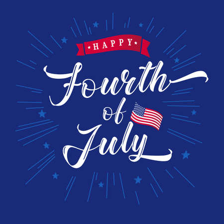 Fourth of July handwriting inscription for greeting card or banner. Happy Independence Day of United States of America. Calligraphic lettering blue background with beams and stars. US national holiday