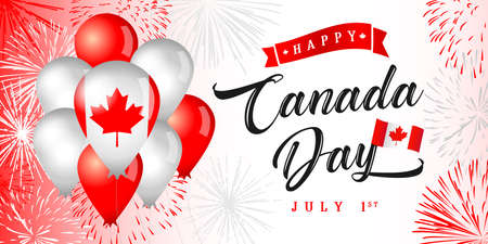 Happy Canada Day creative greetings. Isolated abstract graphic design template. The National Day Of Quebec congrats concept. Holiday background with decorative elements and country vintage typescript.