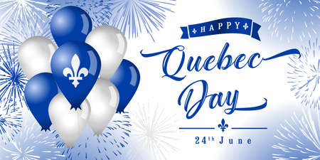 Happy Quebec Day creative greetings. Isolated abstract graphic design template. Quebec's National Holiday congrats concept. St. Jean-Baptiste Day. 3D decorative elements and country vintage typescript 向量圖像