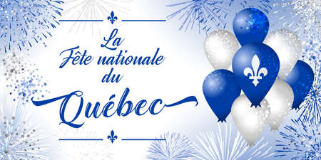 Quebec's National Holiday. Decorative French typescript La Fete Nationale du Quebec. Day of Quebec creative congrats concept. Isolated graphic design template. St. Jean-Baptiste John The Baptist Day. 向量圖像