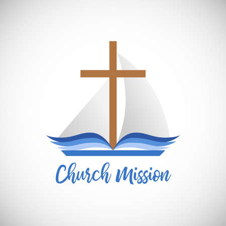 Christian church mission concept. Religious cross, open blue book with blue pages as a sailboat sign. Creative logo idea. Brand icon. Isolated abstract graphic design template. The word of God symbol.