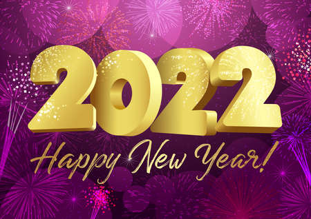 2022 A Happy New Year sign, congrats concept. Logotype in 3D style. Beautiful shiny snowy backdrop. Abstract isolated graphic design template. Decorative numbers. Creative Christmas golden decoration.