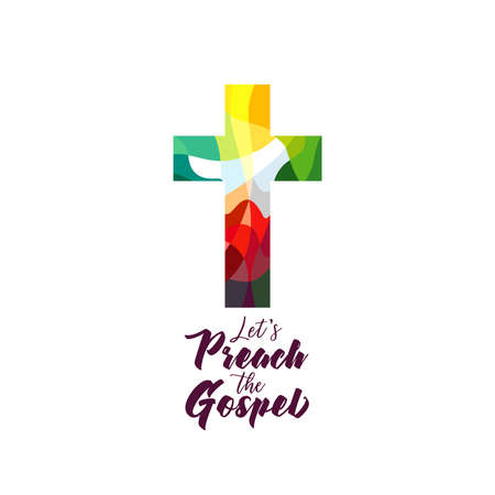 Christian church mission icon concept. Religious stained-glass style coloful cross web sign. Creative logo idea. Isolated abstract graphic design template. Brushing lettering Let's Preach The Gospel.