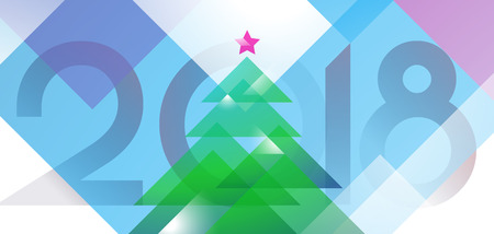 New Year 2018 greeting card design with christmas tree of diagonal vector shapes colored. Illustrative background template in colorful art deco style Illustration