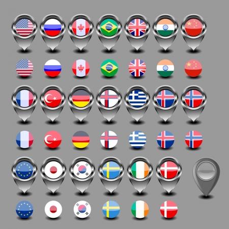 guia turistica: Mapa marcador con la bandera-set Vectores