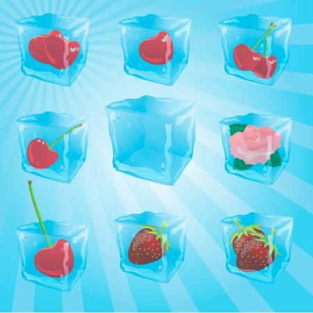 cubos de hielo: Rose, la fresa, la cereza en cubitos de hielo